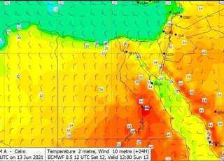 رياح وأتربة والحرارة تصل لـ46 درجة.. تفاصيل حالة الطقس اليوم